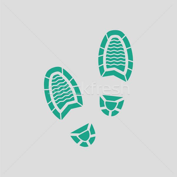 Férfi lábnyom ikon szürke zöld rendőrség Stock fotó © angelp