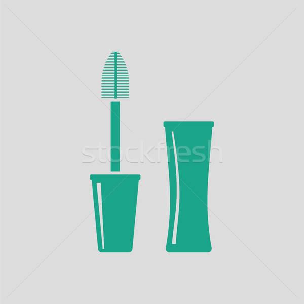 Tusz do rzęs ikona szary zielone kobieta dziewczyna Zdjęcia stock © angelp