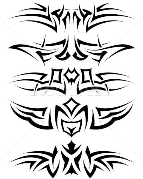 Foto stock: Tatuagem · conjunto · padrões · tribal · projeto · anjo