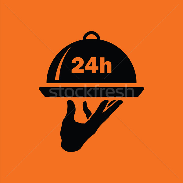 24 uur roomservice icon oranje zwarte Stockfoto © angelp