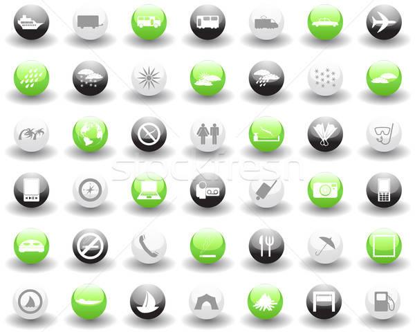 Stockfoto: Reizen · collectie · verschillend · iconen · web · design