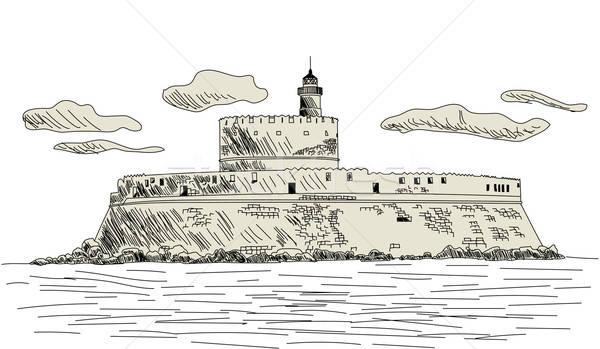 древних форт прибыль на акцию 10 вектора эскиз Сток-фото © angelp