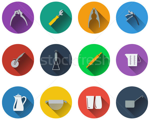 Set of utensils icons in flat design Stock photo © angelp