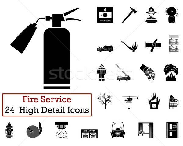 Ayarlamak 24 yangın hizmet simgeler Stok fotoğraf © angelp