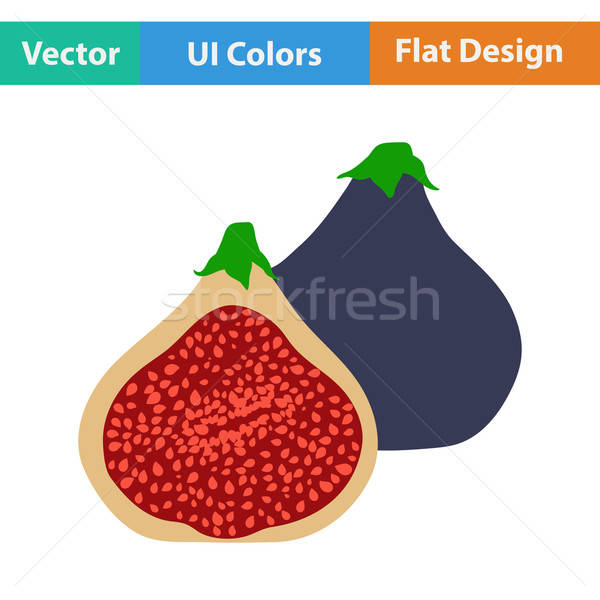 Flat design icon of Fig fruit Stock photo © angelp
