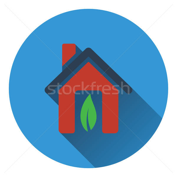 Ecological home with leaf icon Stock photo © angelp