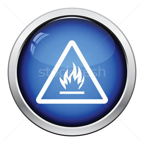 легковоспламеняющийся икона кнопки дизайна безопасности Сток-фото © angelp