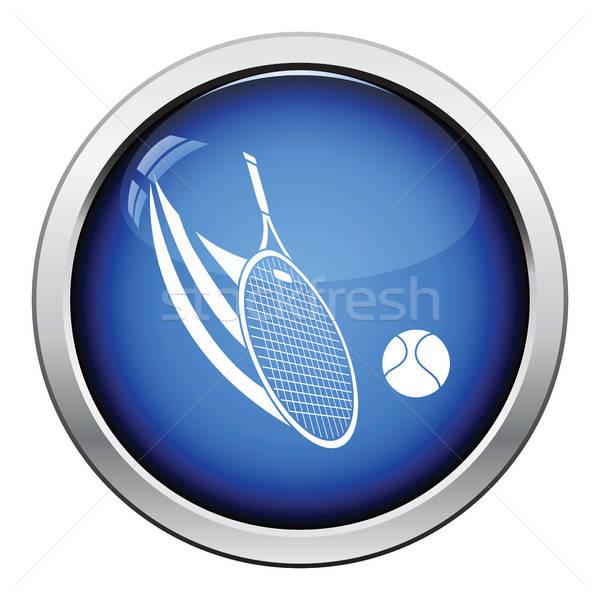 Racchetta da tennis palla icona lucido pulsante design Foto d'archivio © angelp