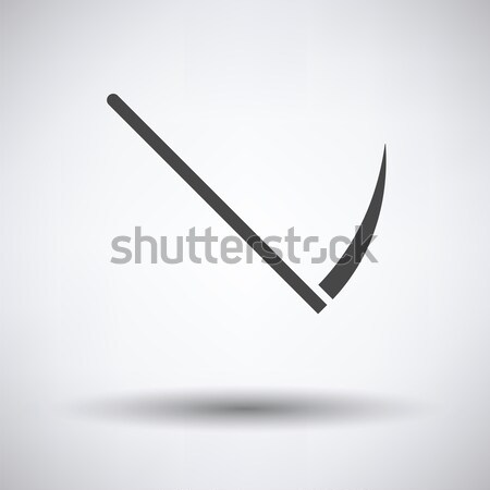 Scythe icon on gray background with round shadow. Vector illustration. Stock photo © angelp