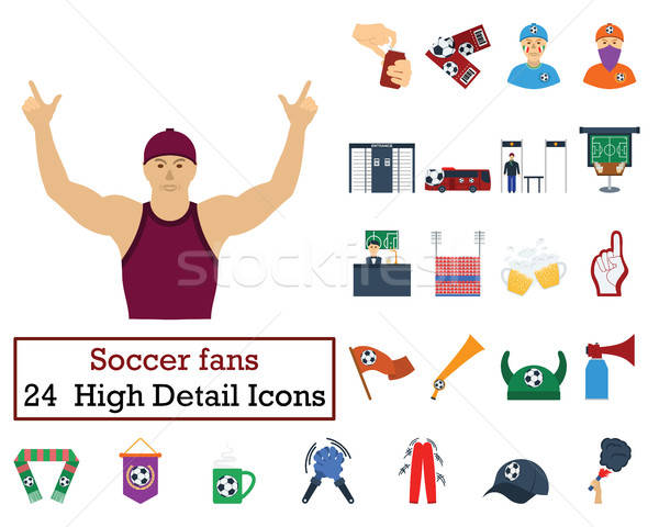 Set of 24 Football Fans Icons Stock photo © angelp