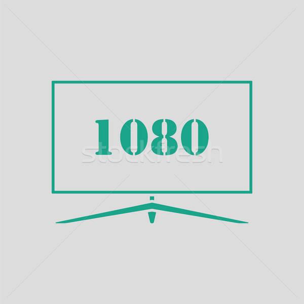 широкий телевизор икона серый зеленый знак Сток-фото © angelp
