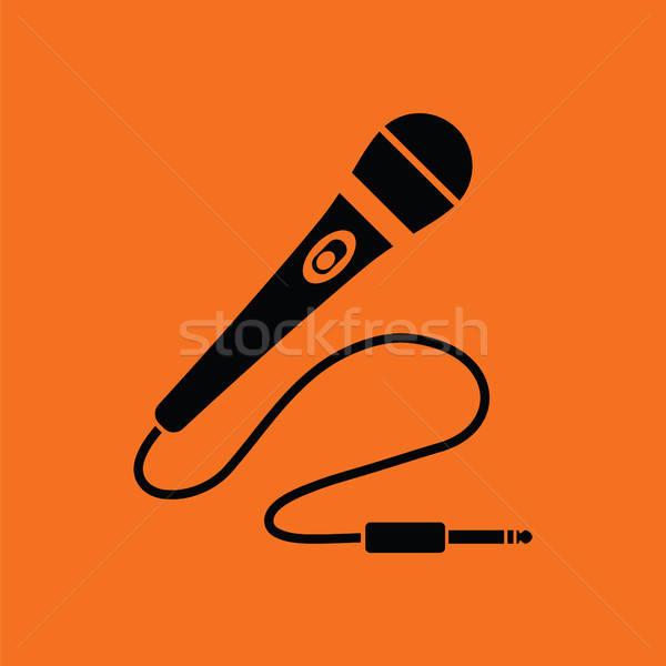 Karaoke mikrofon ikon turuncu siyah imzalamak Stok fotoğraf © angelp