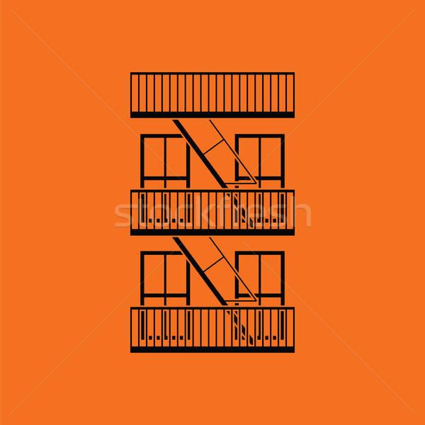 Emergência fogo escada ícone laranja preto Foto stock © angelp