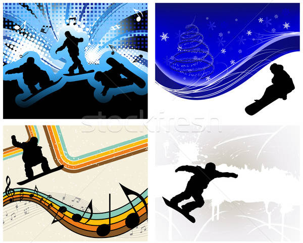 Snowboard ingesteld sport atleet partij ontwerp Stockfoto © angelp