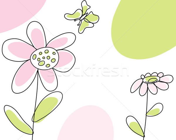 Kroki tebrik kartı soyut vektör dizayn düğün Stok fotoğraf © angelp