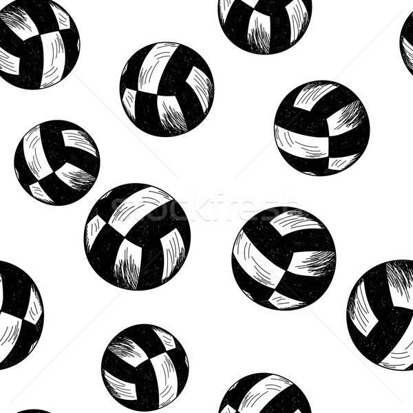 Voleibol sem costura esboço estilo lápis Foto stock © angelp