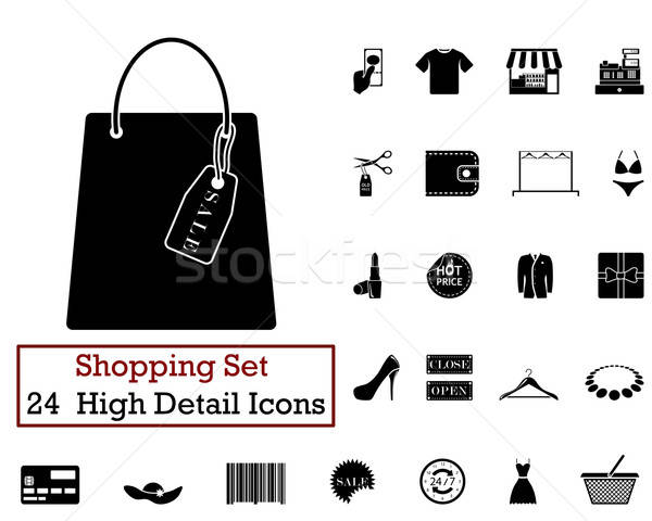 24 alışveriş simgeler siyah renk Stok fotoğraf © angelp