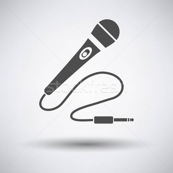 Karaoke micro icône gris signe radio Photo stock © angelp