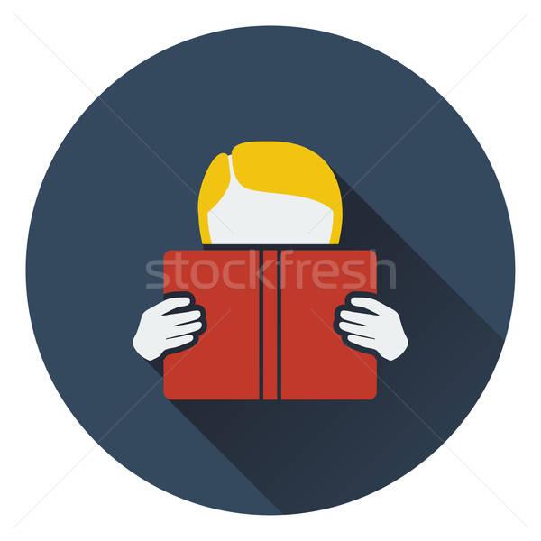 Dizayn ikon erkek okuma kitap ui Stok fotoğraf © angelp