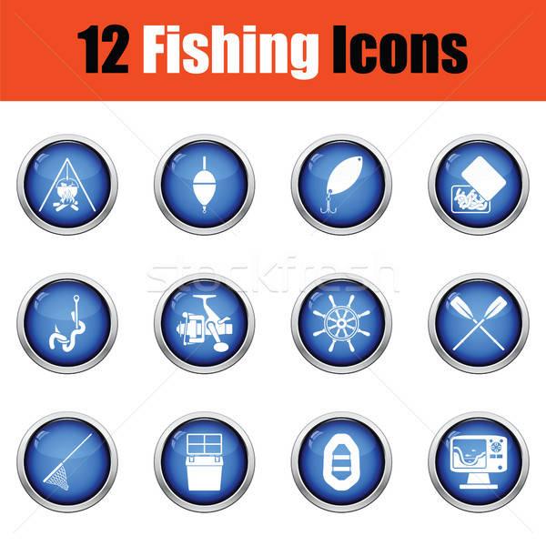 Fishing icon set.  Stock photo © angelp