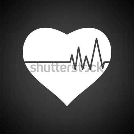 Corazón cardio diagrama icono blanco negro salud Foto stock © angelp