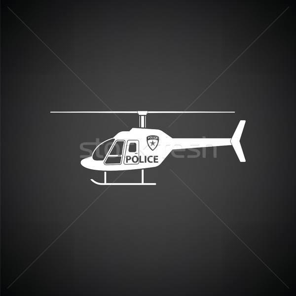 Polícia helicóptero ícone preto e branco céu tecnologia Foto stock © angelp