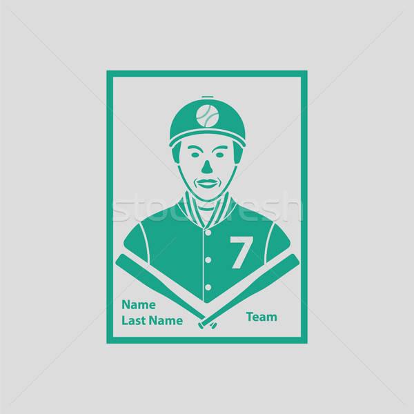 Stock fotó: Baseball · kártya · ikon · szürke · zöld · felirat