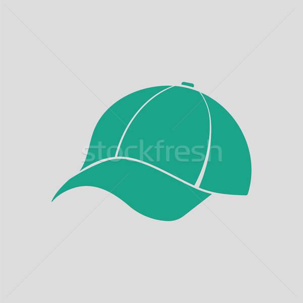 Baseballsapka ikon szürke zöld divat baseball Stock fotó © angelp