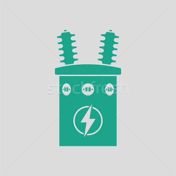 Elétrico transformador ícone cinza verde fundo Foto stock © angelp