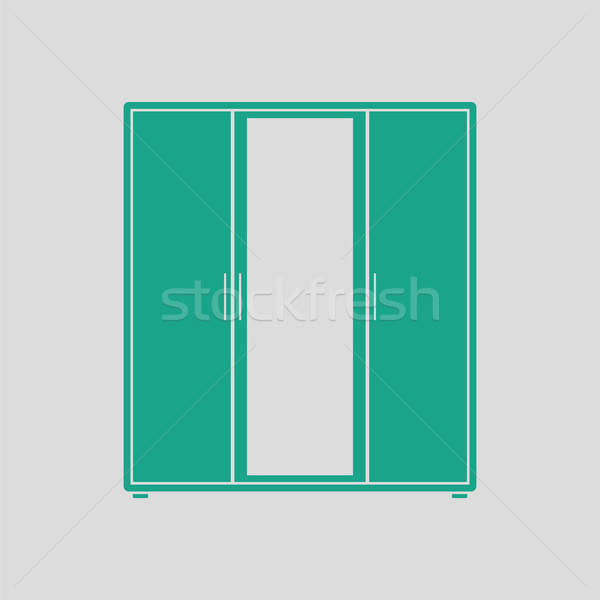 гардероб зеркало икона серый зеленый женщину Сток-фото © angelp
