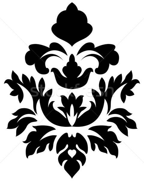 Damast embleem stijl witte bloem achtergrond Stockfoto © angelp