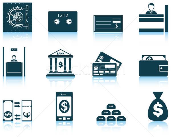 набор двенадцать банка иконки Размышления Сток-фото © angelp
