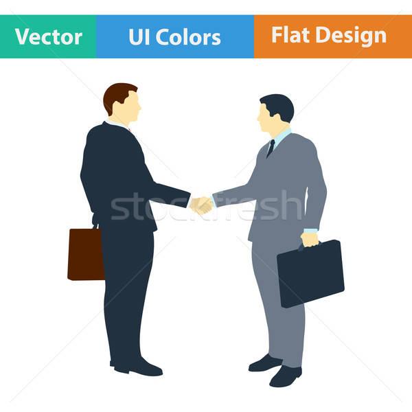 Flat design icon of Meeting businessmen Stock photo © angelp