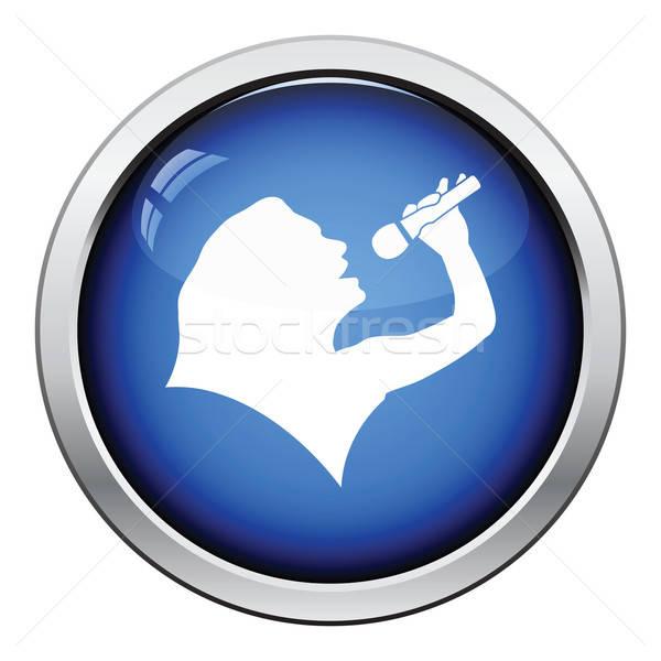 Karaoke sylwetka ikona przycisk projektu Zdjęcia stock © angelp