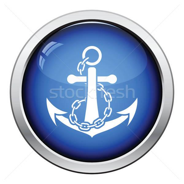 Mar ancla cadena icono botón Foto stock © angelp