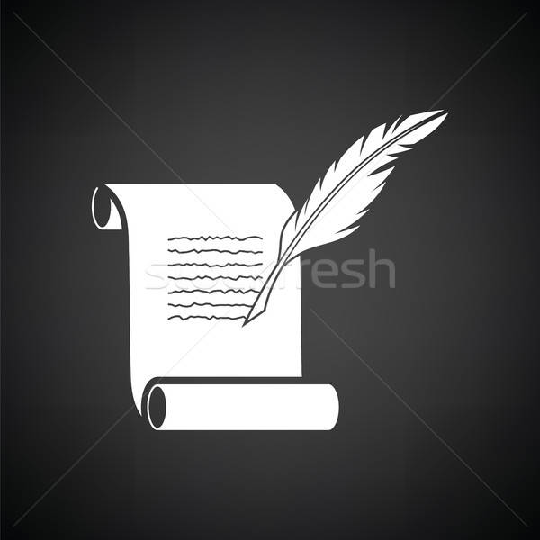 Stock fotó: Toll · tekercs · ikon · feketefehér · ír · levél