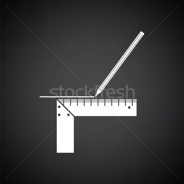 Pencil line with scale icon Stock photo © angelp