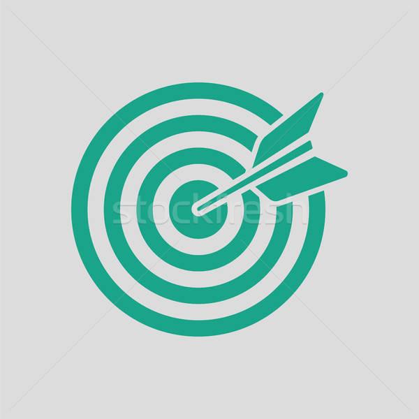 целевой дартс икона серый зеленый работу Сток-фото © angelp
