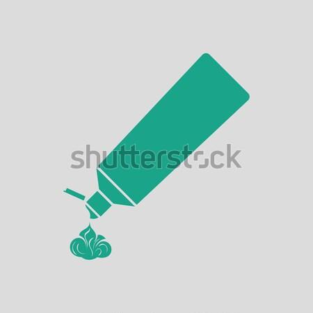 Dentifricio tubo icona grigio verde salute Foto d'archivio © angelp