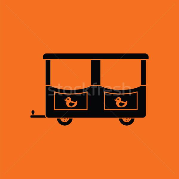 Vagon gyerekek vonat ikon narancs fekete Stock fotó © angelp