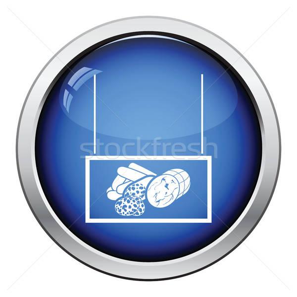 Worstjes markt afdeling icon glanzend knop Stockfoto © angelp