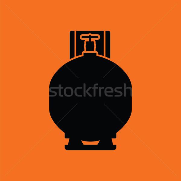 Benzin henger ikon narancs fekete üveg Stock fotó © angelp