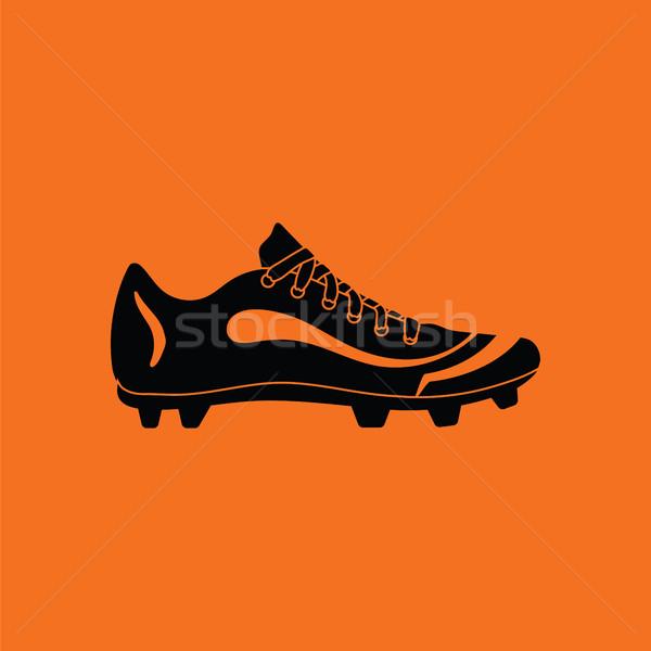 ストックフォト: アメリカン · サッカー · ブート · アイコン · オレンジ · 黒