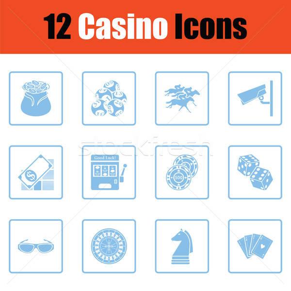 Kaszinó ikon gyűjtemény kék keret terv pénz Stock fotó © angelp
