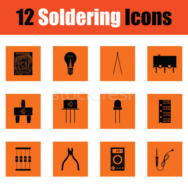 Set of soldering  icons Stock photo © angelp