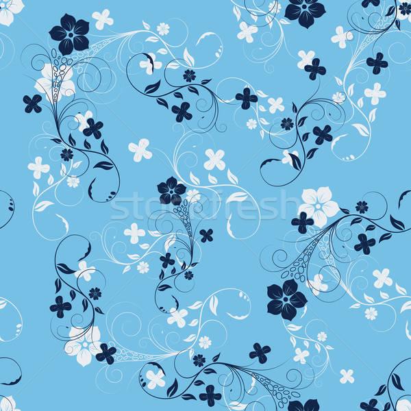 Kwiatowy bezszwowy wektora projektu kwiat liści Zdjęcia stock © angelp