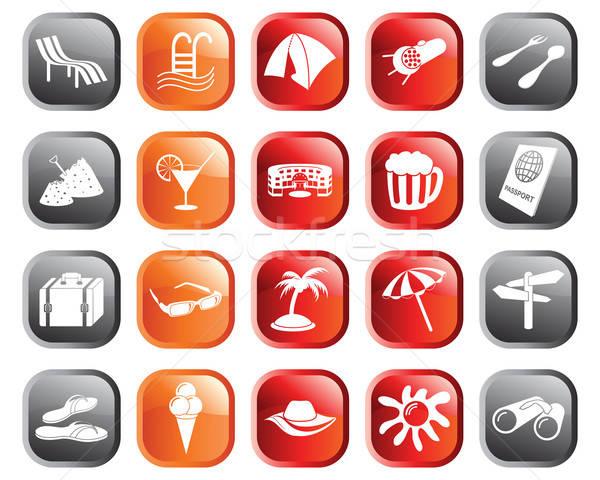 Foto stock: Viaje · establecer · diferente · vector · iconos · de · la · web