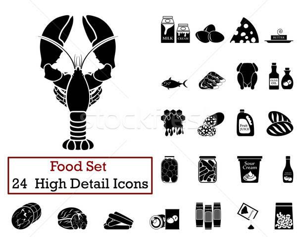 24 alimentare icone nero colore Foto d'archivio © angelp