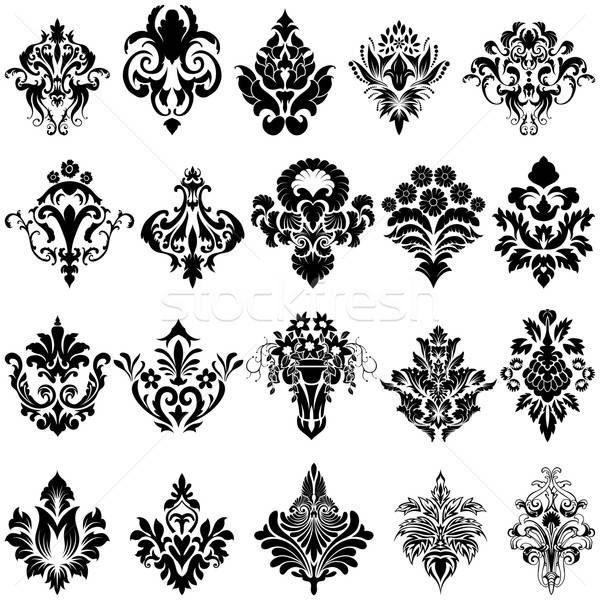 дамаст эмблема набор стиль белый искусства Сток-фото © angelp