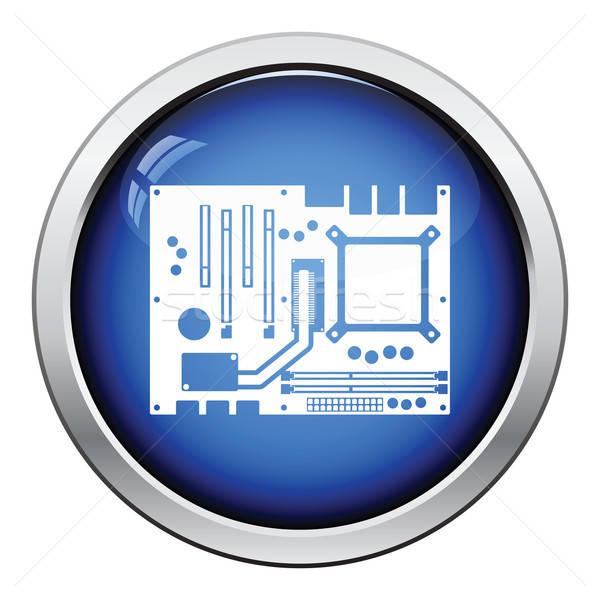 Placa-mãe ícone botão projeto tecnologia Foto stock © angelp